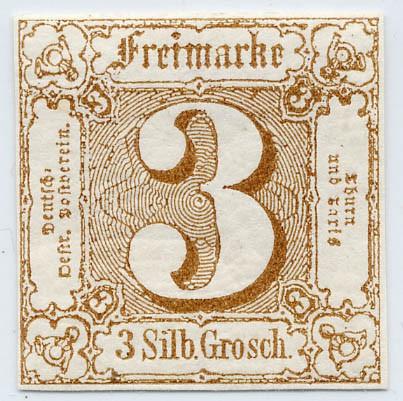 Thurn & Taxis MiNr. 31 * 3 Gr., ockerbraun, geschnitten