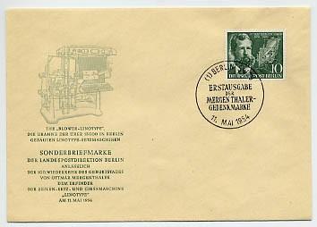 Berlin FDC Mi-Nr. 117 100. Geburtstag von O. Mergenthaler