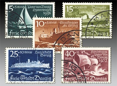 Freie Stadt Danzig MiNr. 284/88 o Winterhilfswerk: Schiffe