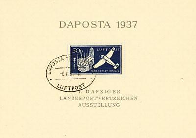 """Freie Stadt Danzig MiNr. 271b gf o Block 2b """"Flugpost""""- schwarzblau"""