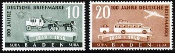 Franz.Zone Baden MiNr. 54/55 ** 100 Jahre deutsche Briefmarken