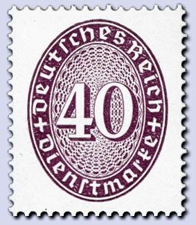 Dt. Reich Dienst MiNr. 121 Y ** Dienstmarken Ziffernzeichnung