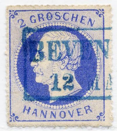 Hannover MiNr. 24y o 2 Gr., lilaultramarin, weißer Gummi, durchstochen