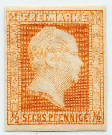 Preußen MiNr. 1 * 1/2 Silbergr. /6 Pf. - rotorange