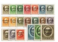 """Bayern MiNr. 116/35 B II** """"Volksstaat Bayern"""" Aufdruck auf König Ludwig III, geschnitten"""