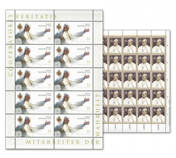 DDR Bogen MiNr. 3337 ** inkl. Sammelblatt Johannes Paul II + 10er-Bogen BRD MiNr. 2599