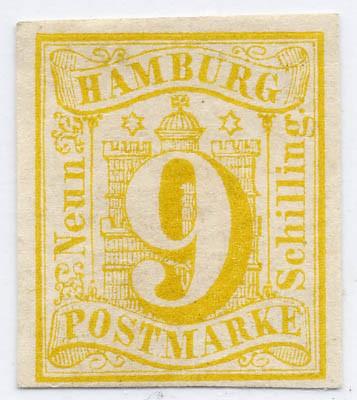 Hamburg MiNr. 7 (*) 9 Schilling / hellgelb