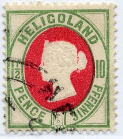 Helgoland MiNr. 14d o 10Pf/1 1/2 P hellgrün/mittelrot