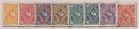 Dt. Reich MiNr. 205/09 + 209y + 224/32 **