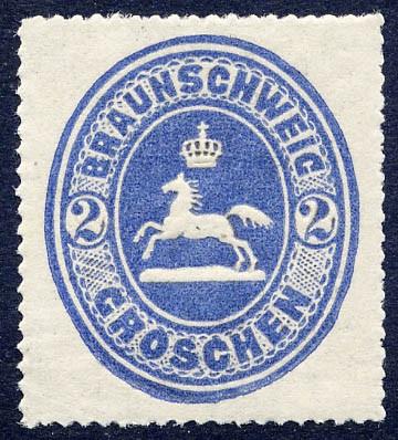 Braunschweig MiNr. 19 * 2 Groschen / ultramarin