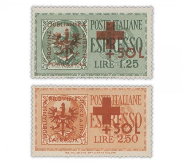 Dt. Besetzung Laibach MiNr. 29-30 ** Aufdruckmarken Rotes Kreuz
