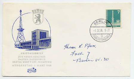 Berlin FDC Mi-Nr. 135 - 7 Pf. Berliner Stadtbilder (I)