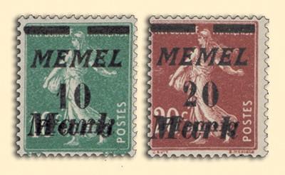 Memelgebiet MiNr. 108/109 ** Freimarken Frankreich mit Aufdruck