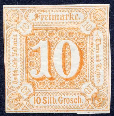 Thurn & Taxis MiNr. 19 ** 10 Gr., orange, geschnitten