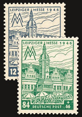 SBZ West-Sa. MiNr. 163 AXa + 165 AYa ** gepr. Leipziger Messe 1946