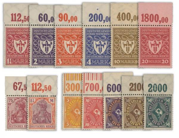 Dt. Reich Germania, Gewerbeschau, Posthorn ** MiNr. 197-209 mit Oberrand, 13 Werte