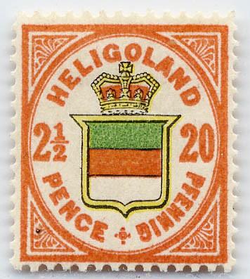 Helgoland MiNr. 18h * 20Pf/2 1/2 P graurot/h'gelb/h'graugrün