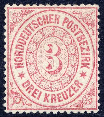 Norddeutscher Postbezirk MiNr. 21 * 3 Kreuzer / karmin