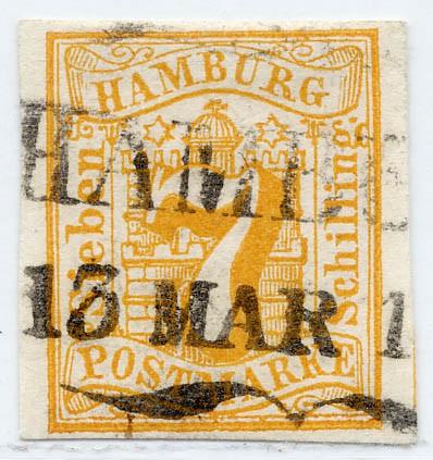Hamburg MiNr. 6 o 7 Schilling / orange