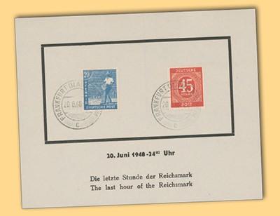 """All.Bes.GA Sonderblatt """"letzte Stunde der Reichsmark"""""""