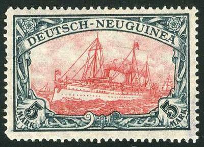 Dt. Kolonien Neuguinea MiNr. 21/23II ** FM: Kaiseryacht - Kriegsdruck
