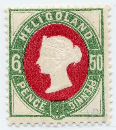 """Helgoland MiNr. 16b I * 50Pf/6P grün/dkl.karmin / PF I- Punkt unter """"6"""""""