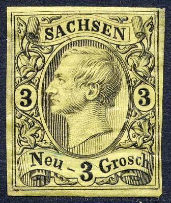 Sachsen MiNr. 11 * 2 Ngr./ König Johann I. / rötlichgelb