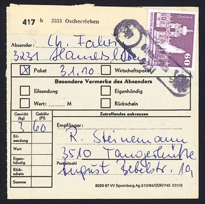 DDR Paketkarte mit MiNr. 1919 60Pf Aufbau i.d. DDR: Dresden Zwinger
