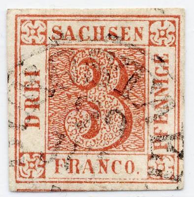 Sachsen MiNr. 1c o 3 Pfennige / braunrot