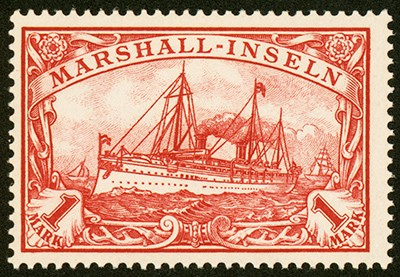 Dt. Kolonien Marshall-Inseln MiNr. 22 ** 1 M große Kaiseryacht