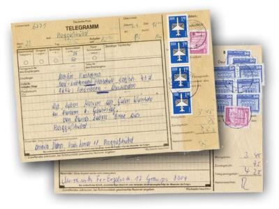 DDR MiNr. 2485w o auf Telegramm Freimarken: Aufbau in der DDR (klein) 20 Pf