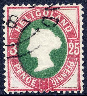 Helgoland MiNr. 15 o 25Pf/3P lilakarmin/grün