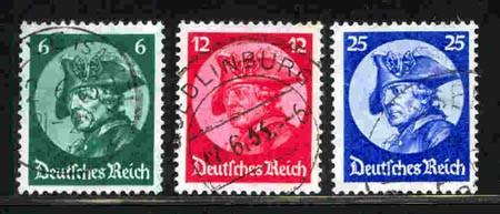 Dt. Reich MiNr. 479/81 o Friedrich der Große/Reichstagseröffnung