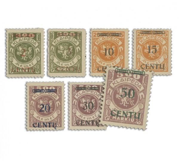 Memelgebiet MiNr. 167/173 ** Freimarken Aufdr. neue Währung CENTU