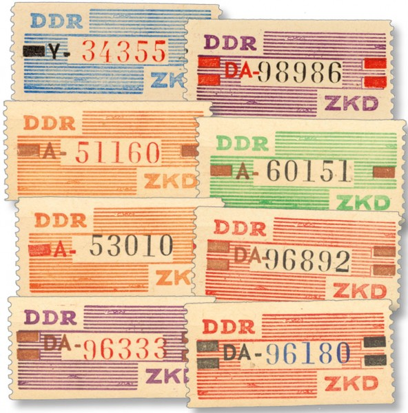 DDR Dienstmarken B MiNr. III/X ** 8 Wertstreifen für den ZKD, nicht verausgabt