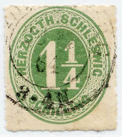 Schleswig-Holstein MiNr. 4 o 1 1/4 Schilling - dkl.gelbl.grün