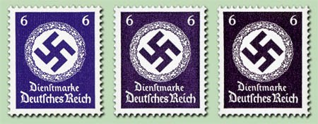 Dt. Reich Dienst MiNr. 169a, 169b u. 169c gepr. ** 3 Farbvarianten a.Dienstmarkensatz - Dt. Reich