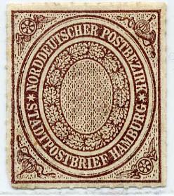 Norddeutscher Postbezirk MiNr. 12 * 1/2 Schilling / rötlichbraun