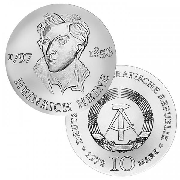 DDR Münze 1972, 10 M, st 175. Geburtstag Heinrich Heine