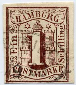 Hamburg MiNr. 2 o 1 Schilling / braun