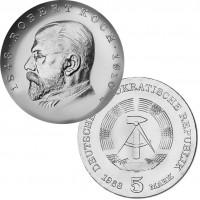 DDR Münze 1968, 5 M, st 125. Geburtstag Robert Koch