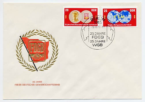 DDR FDC MiNr. 1577/78 25 J. FDGB u. WGB