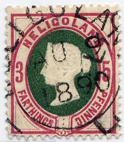 Helgoland MiNr. 13b o 3Pf/5F lilakarmin(rot)/grün