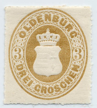 Oldenburg MiNr. 19B * 3 Groschen ockerbraun