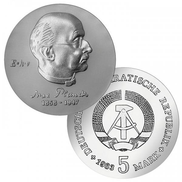 DDR Münze 1983, 5 M, st 125. Geburtstag Max Planck