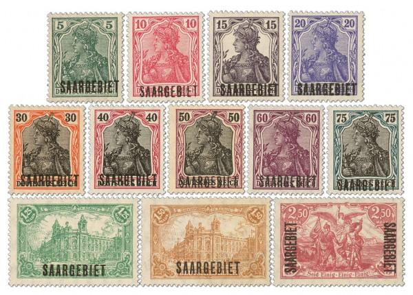 Dt. Abst.Geb. Saargebiet MiNr. 32/43 ** FM Teilauflage Dt. Reich Bdr.-Aufdr.