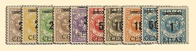Memelgebiet MiNr. 183/192 ** Freimarken Wappenreiter mit Aufdruck + Attest