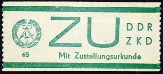 DDR Dienstmarken E MiNr. 1 ** für Sendungen mit Zustellurkunde