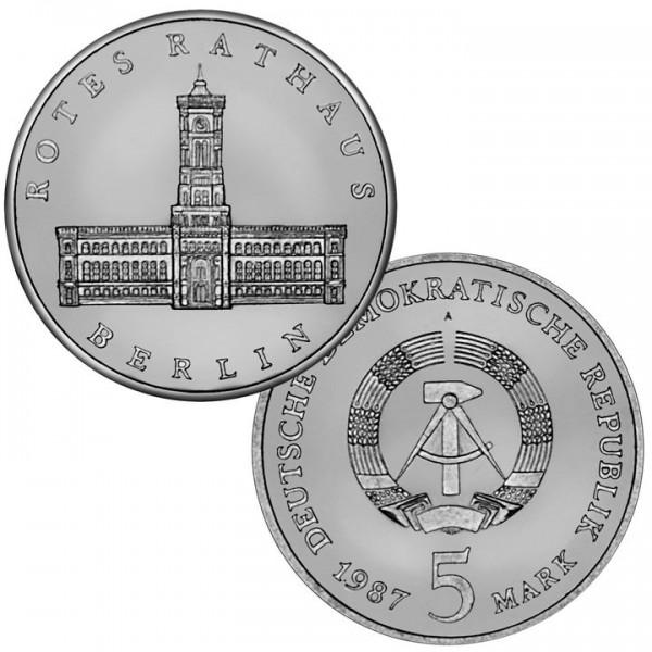 DDR Münze 1987, 5 M, PP 750 Jahre Berlin Rotes Rathaus